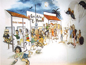 Caricatura de personagens da Broadway de Canoa Quebrada - 1994